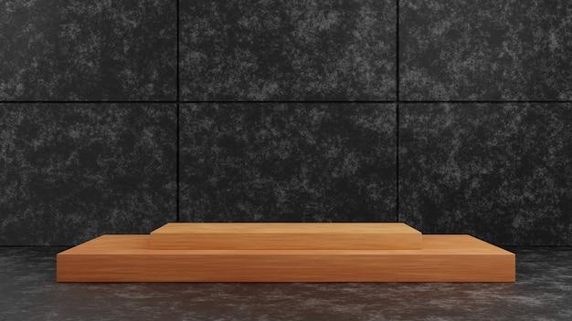 Podium de piédestal carré en bois de rendu 3d sur fond de mur de texture de ciment sombre pour le modèle de présentation. illustration de concept de maquette de scène d'exposition de géométrie.