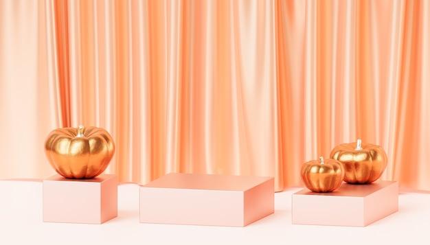 Podium ou piédestal avec citrouilles dorées pour l'affichage des produits ou la publicité pour les vacances d'automne, rendu 3d