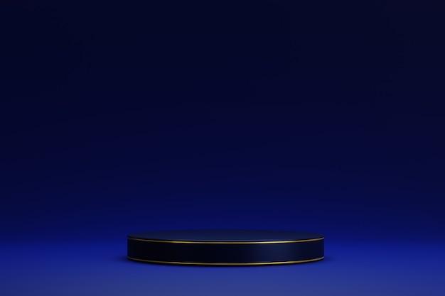 Podium de piédestal de cylindre blanc bleu 3d abstrait avec accent doré sur fond bleu