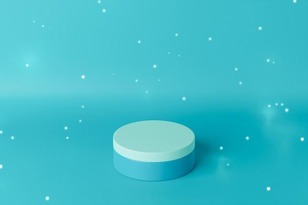 Podium ou piédestal à cylindre bleu pour produits contenant des particules lumineuses. rendu 3d dans un style minimal.