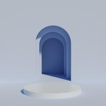 Podium ou piédestal à cylindre bleu pour les produits ou la publicité à proximité d'une entrée vide. rendu 3d minimal.