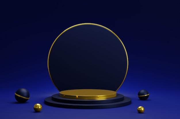 Podium de piédestal de cylindre d'or bleu abstrait 3d avec des boules