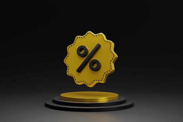 Podium de piédestal de cylindre en or noir 3d abstrait avec étiquette de remise vendredi noir