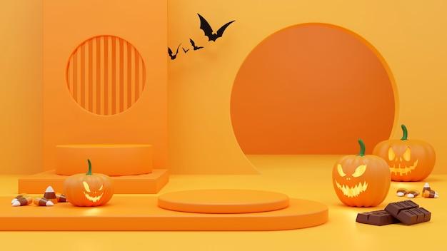 Podium de piédestal sur fond orange. , promotion de produits d'halloween. rendu 3d effrayant abstrait.