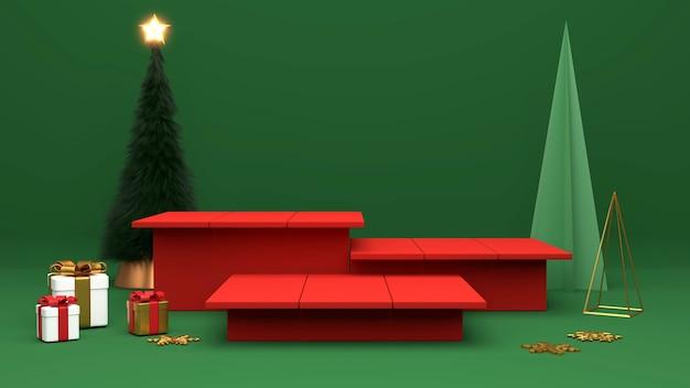 Podium de piédestal sur fond vert. , rendu 3d de promotion de noël ou du nouvel an.