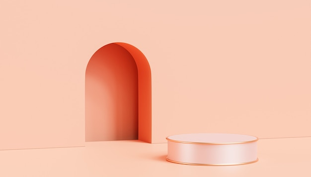 Podium ou piédestal de luxe beige pour produits ou publicité sur fond couleur pêche pastel, rendu 3d