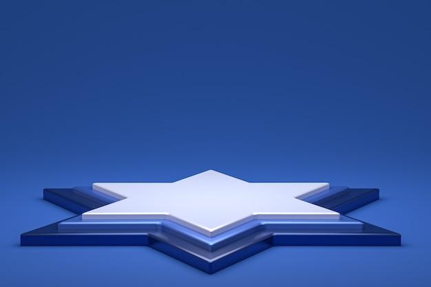 Podium ou piédestal minimal sur fond bleu pour la présentation de produits cosmétiques