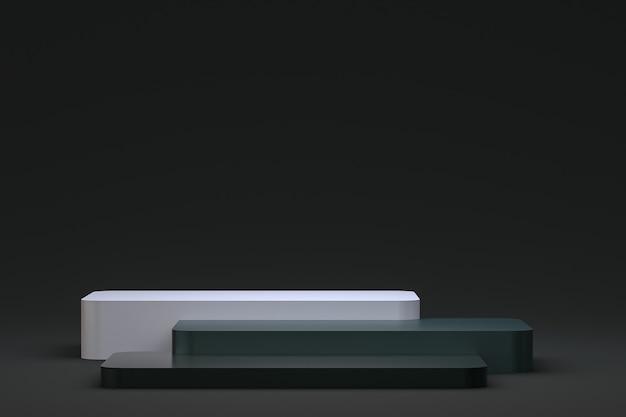 Podium ou piédestal minimal sur fond noir pour la présentation de produits cosmétiques