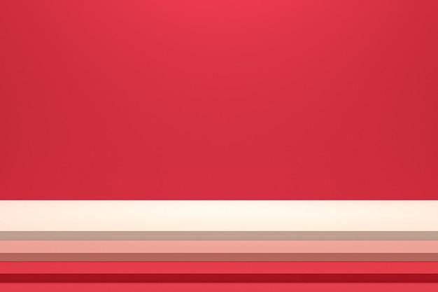 Podium ou piédestal minimal sur fond rouge pour la présentation de produits cosmétiques