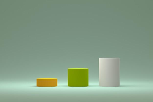 Podium ou piédestal minimal sur fond vert pour la présentation de produits cosmétiques