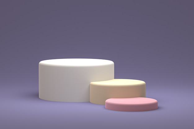 Podium ou piédestal minimal sur fond violet pour la présentation de produits cosmétiques