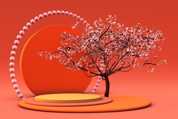 Podium ou piédestal orange 3d avec arbre pour l'affichage du produit ou la publicité pour les vacances d'automne
