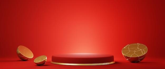 Podium, piédestal ou plateforme, fond pour la présentation de produits cosmétiques. place pour les annonces. géométrie de scène rouge de rendu 3d avec de l'or. podium vierge de présentation du produit.