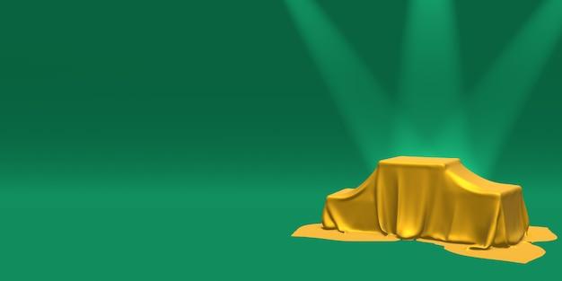 Podium, piédestal ou plateforme recouvert de tissu doré illuminé par des projecteurs sur fond vert. illustration abstraite de formes géométriques simples. rendu 3d.