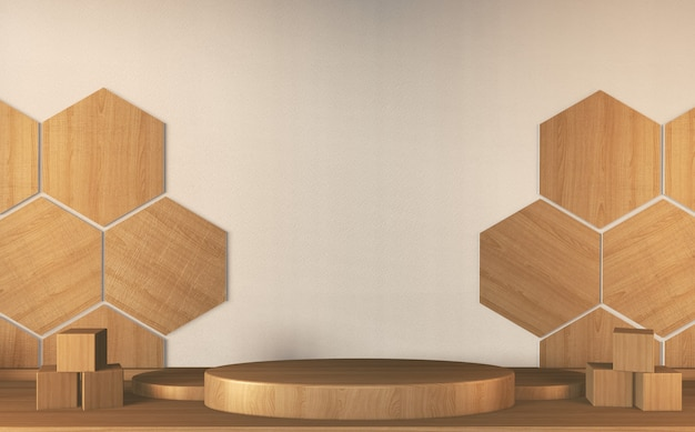 Podium - piédestal pour les produits japonais traditionnels. décoration 3d