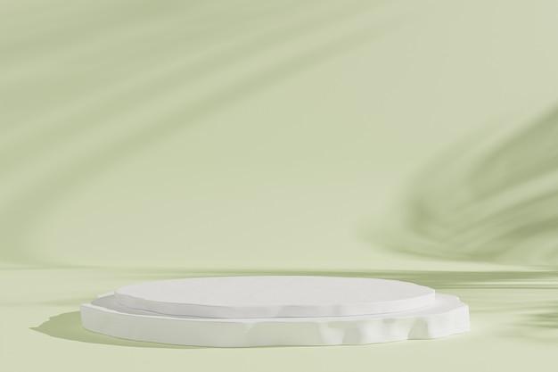 Podium ou piédestal pour produits ou publicité sur fond vert avec des ombres de feuilles, rendu d'illustration 3d minimal