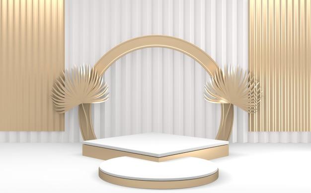 Podium de piédestal avec scène de produit design minimal podium or amd blanc. rendu 3d