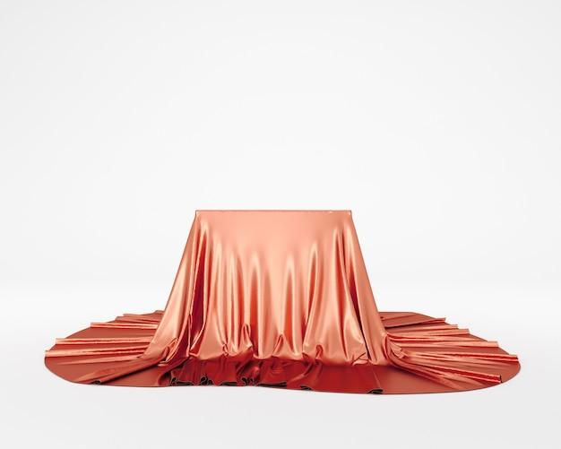 Podium piédestal en tissu soyeux rouge. rendu 3d.