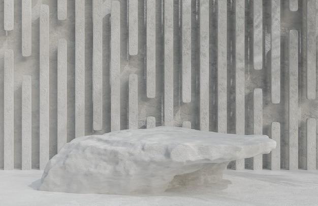 Podium en pierre grise pour la présentation du produit sur le modèle et l'illustration 3d de style de luxe de fond de mur en pierre.