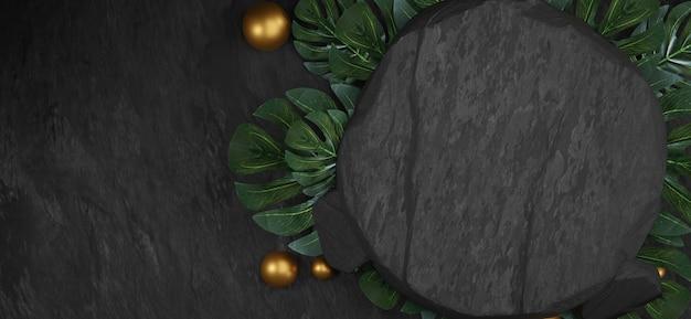 Podium en pierre noire naturelle avec des feuilles tropicales. toile de fond pour l'affichage du produit, rendu 3d