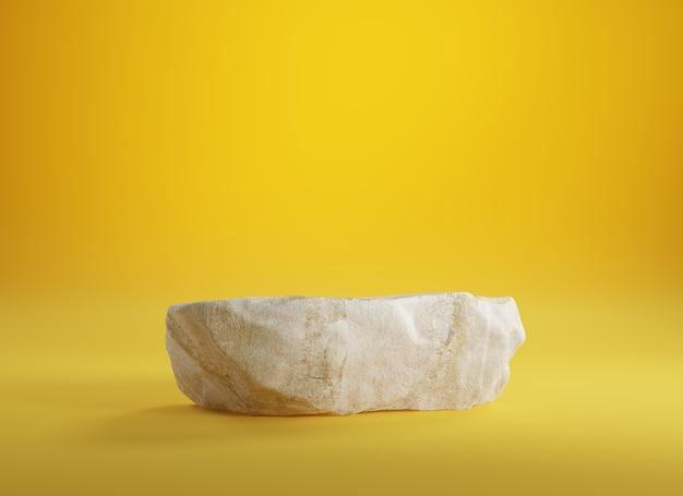 Podium en pierre pour produit d'affichage sur jaune