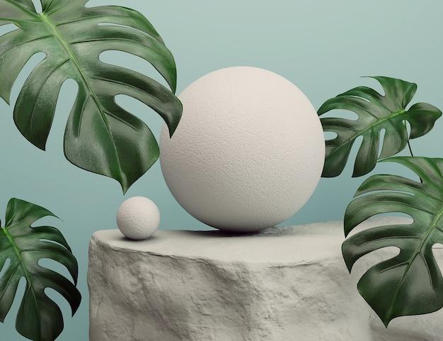 Podium en pierre avec des sphères et des feuilles de monstera