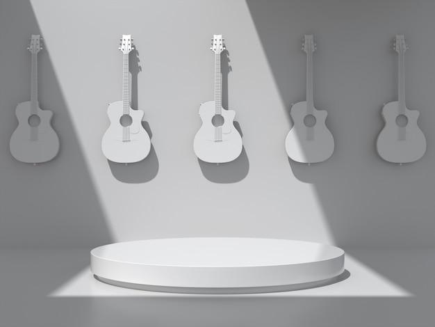 Podium pour exposition de produits avec guitares accrochées au mur