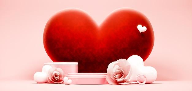 Podium pour le placement de produit à la saint valentin avec des décorations