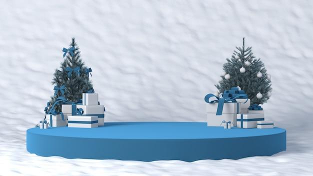 Podium pour le placement de produits en hiver avec des décorations de noël