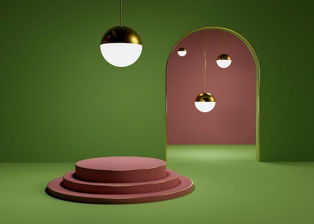 Podium pour la présentation des produits avec des sphères lumineuses dorées et des détails rouges et verts