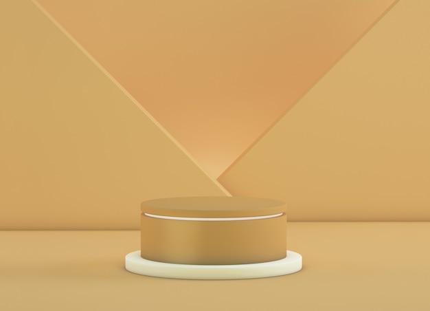Podium pour les produits avec des plans croisés en arrière-plan de couleur or