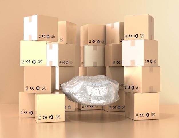 Podium pour la vente de produits en ligne. fond de boîtes de shopping. rendu 3d.