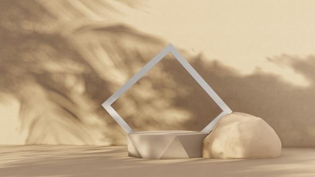 Podium premium sur fond pastel pour l'affichage du produit, composition géométrique abstraite avec branche et ombre sur le mur - rendu 3d. maquette pour les expositions. promotion.