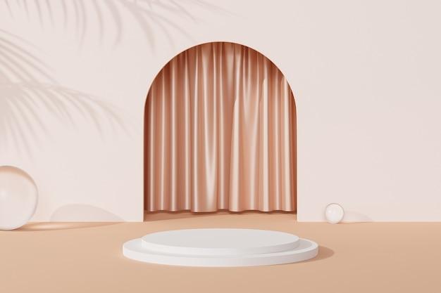Podium près de l'entrée vide beige avec rideaux et ombres de feuilles tropicales