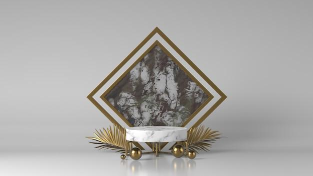 Podium de présentation de placement de produit en marbre blanc et or de luxe abstrait avec des feuilles d'or