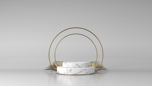 Podium de présentation de produits de luxe en or et marbre blanc