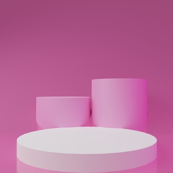 Podium de rendu 3d blanc sur fond rose