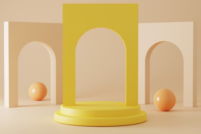 Podium de rendu 3d minimaliste avec des couleurs pastel.