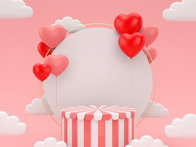 Podium de rendu 3d pour la saint-valentin scène abstraite pour le produit d'affichage.