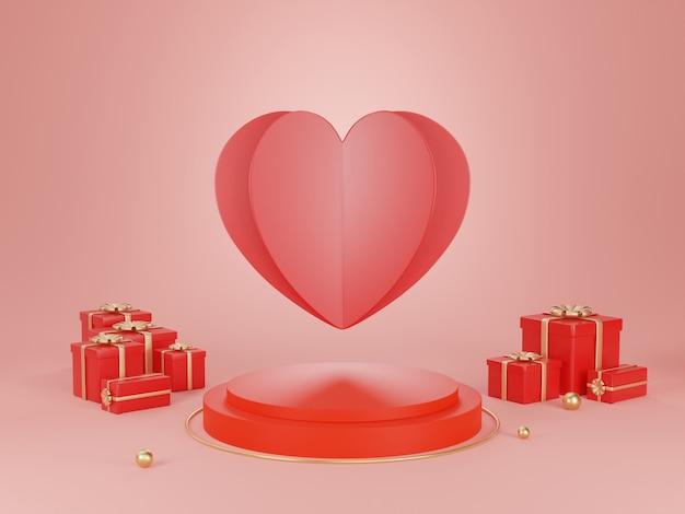 Podium de rendu 3d pour la saint-valentin.