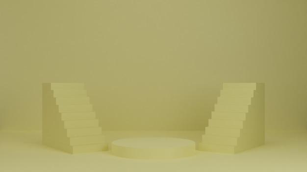 Podium de rendu 3d, stand, vitrine sur lumière pastel, fond abstrait avec des escaliers pour produit premium.