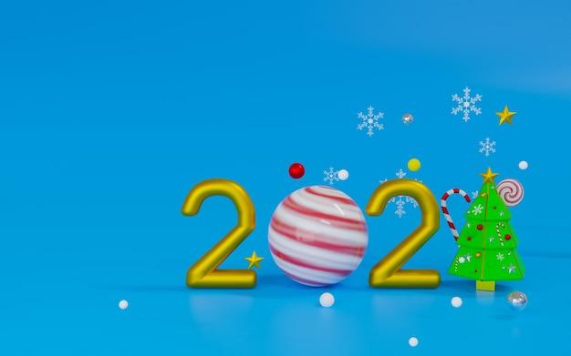 Podium de rendu 3d et thème de la scène joyeux noël et bonne année 2021