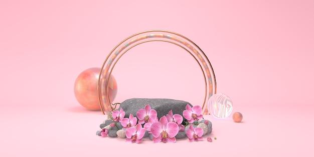 Podium rocheux et fleurs d'orchidées