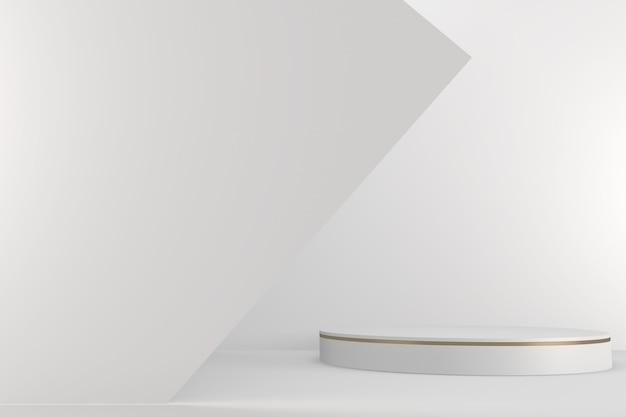 Podium romain blanc pour produit cosmétique sur fond granit blanc. rendu 3d