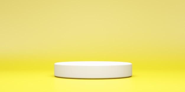 Podium rond blanc vide sur fond jaune studio