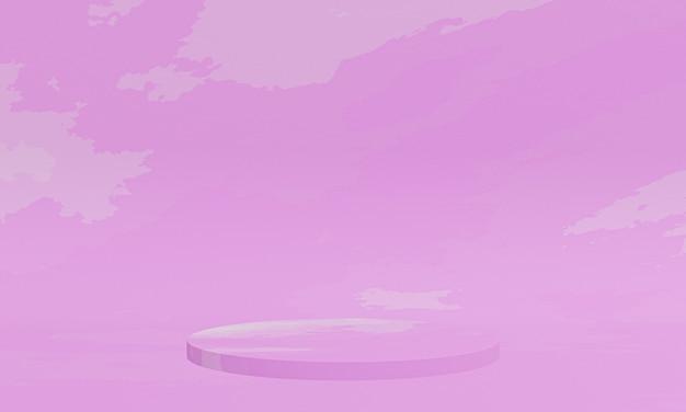 Podium rose abstrait rendu 3d