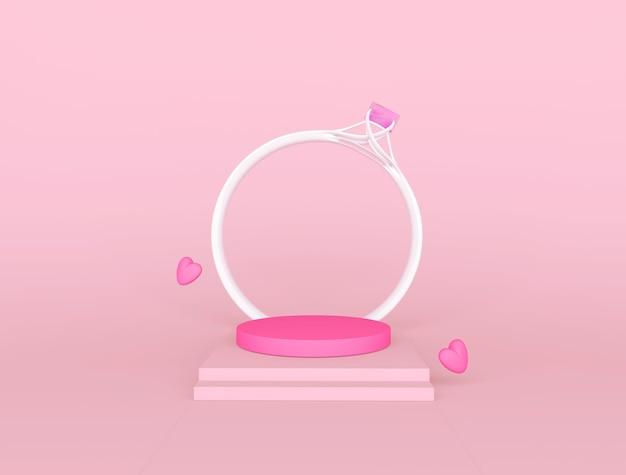 Podium rose et anneau pour le placement de produit le jour de la saint-valentin
