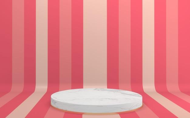 Podium rose coloré de rendu 3d mock up design minimal.