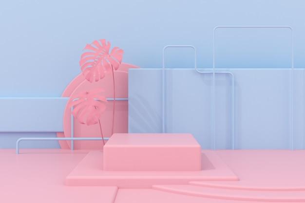Podium rose géométrique abstrait pour la présentation du produit.