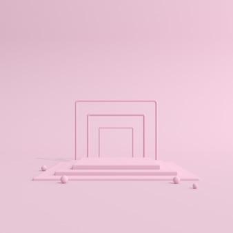 Podium rose géométrique pour la présentation du produit.